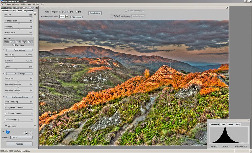 Photomatix tonemapping - alternative settings