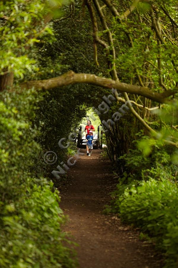 Jogging through the tunnel - family fun