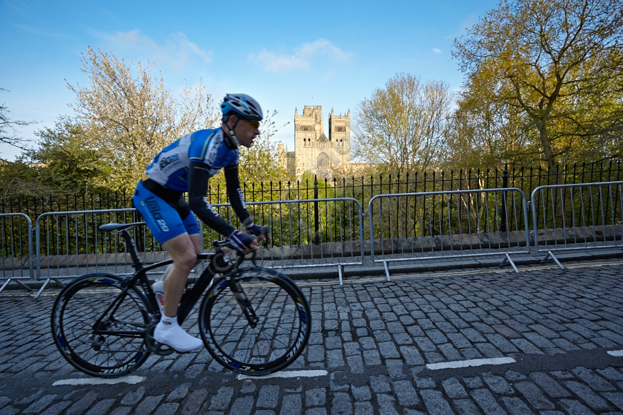 Velo29 Blackhawk ridger passing Durham Cathedral on South Street