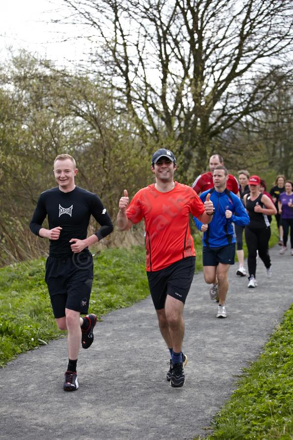 Durham parkrun: mid-run, riverside path