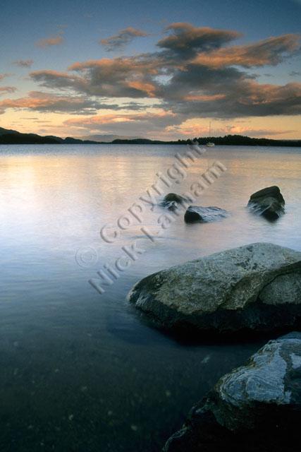 Scotland Loch Lomond sky cloud lake water rock calm peaceful