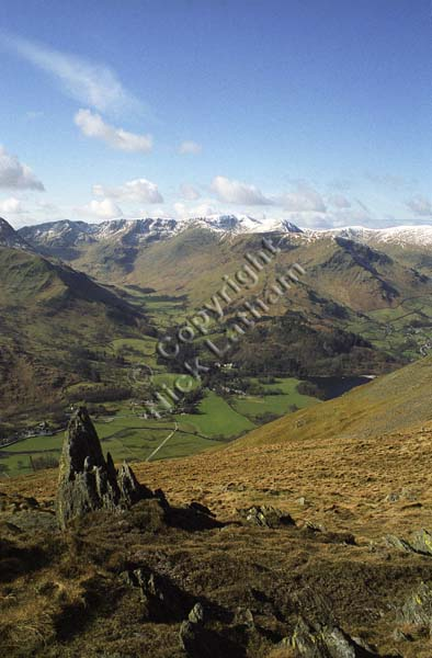 Lake District mountain hill fell snow valley blue sky cloud winter climb outdoors explore navigate walk hike rock pass Grisedale