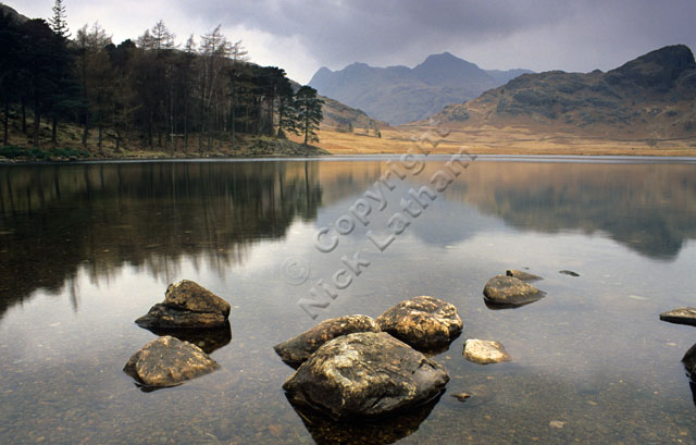 classic landscape water rock autumn mountain Lake District Lakes Side Pike reflection cloud overcast