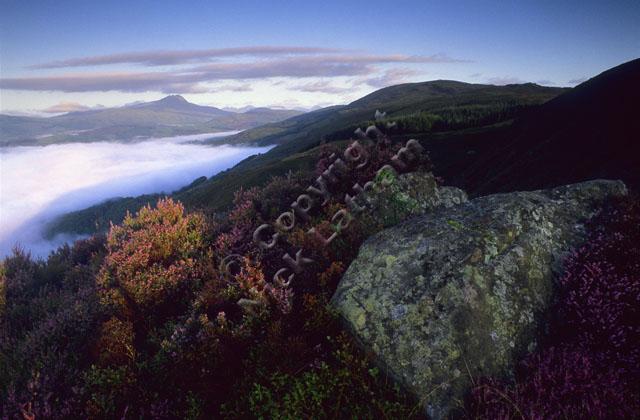 mountain Scotland Trossachs rock heather hill slope moor cloud inversion sunrise dawn munro