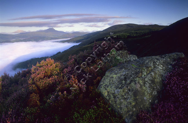 mountain Scotland Trossachs rock heather hill slope moor cloud inversion sunrise dawn munro