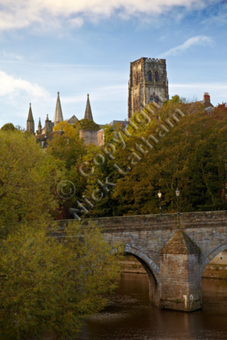 Christian church stone cloud Norman square tower bridge River Wear trees blue sky