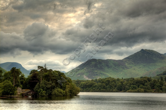 Lake District England UK island boat house hill mountain fell Wainwright cloud overcast Rowling End Causey Pike HDR Derwent Water