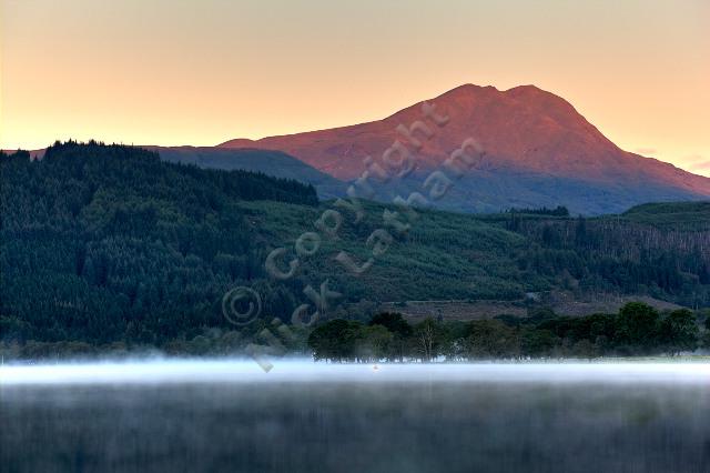 dawn sunrise mountain munro Scotland Trossachs loch lake forest hill fell rock outdoors adventure explore calm still peaceful