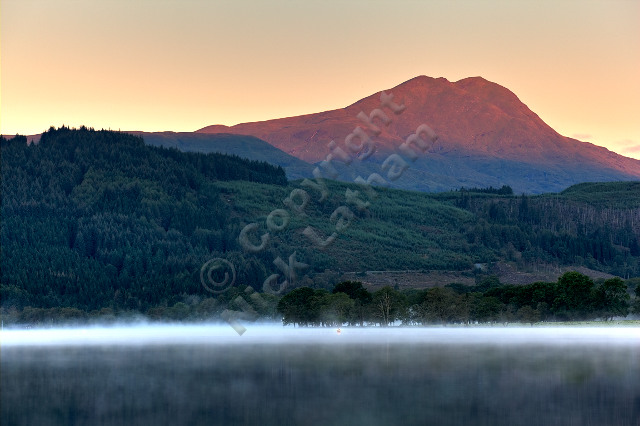 dawn sunrise mountain munro Scotland Trossachs loch lake forest hill fell rock outdoors adventure explore calm still peaceful