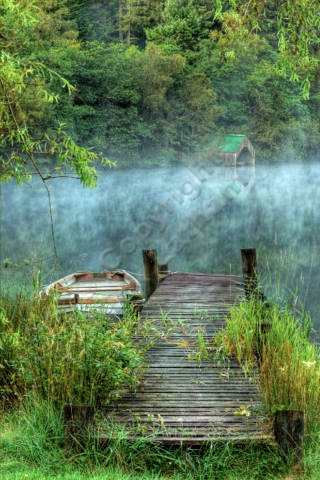 Scotland Trossachs loch lake water reflection jetty boat mist landing reed tree wood calm tranquil peaceful HDR