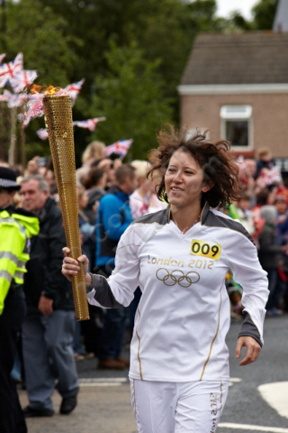 London 2012 Olympics torch relay fencer fencing student event pride Durham University