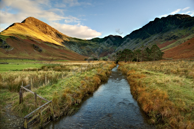 Lake District river stream mountain rock sky landscape Buttermere