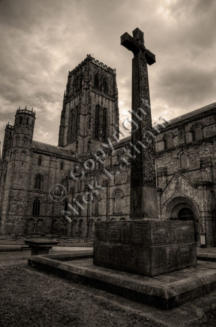 Durham, Cathedral, war memorial, stone, cross, celtic, carving, cloudy, overcast, tower, Norman, sepia, black and white, monochrome, mono