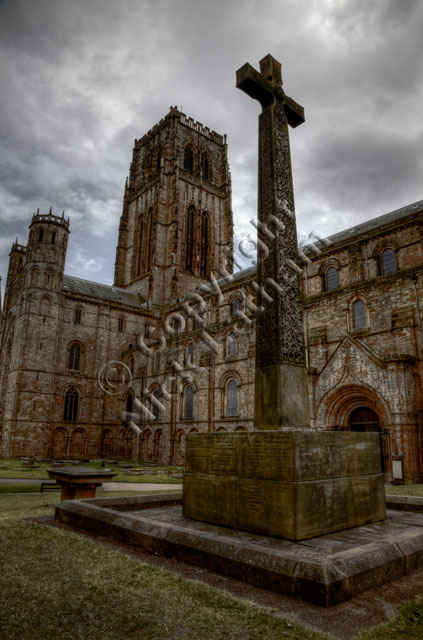 Durham, Cathedral, war memorial, stone, cross, celtic, carving, cloudy, overcast, tower, Norman, HDR