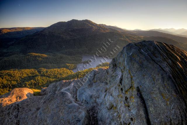mountain Scotland Trossachs hill rock landscape sunset forest outdoor explore tourist adventure