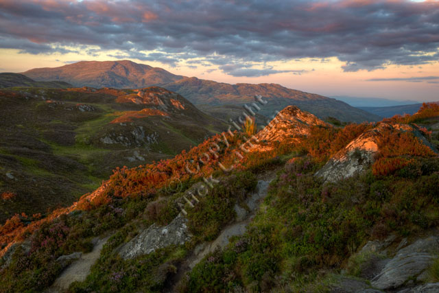 Sunset mountain scene from the Trossachs, Scotland