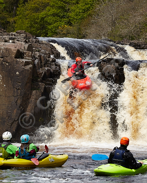 kayak sport adventure waterfall Low Force River Tees challenge brave high water rock equipment safety experience paddle helmet