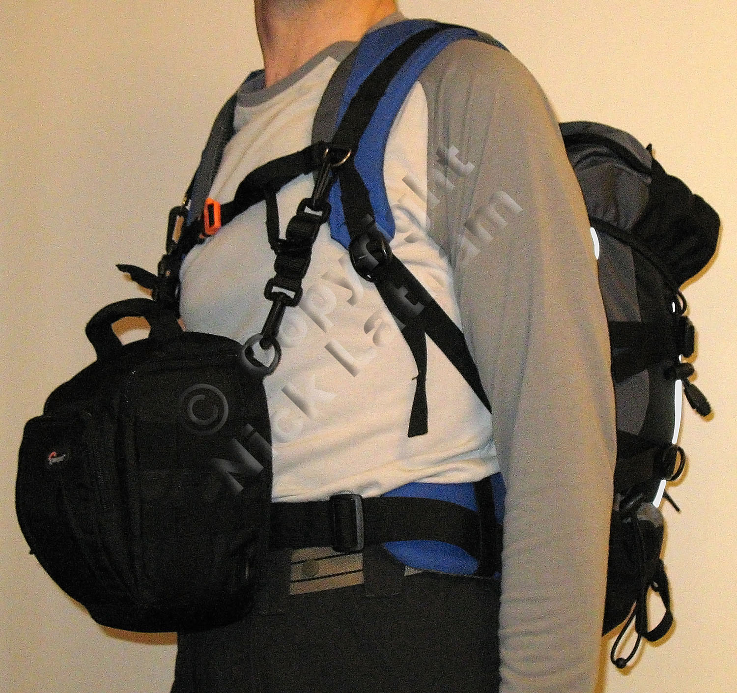 Fellwalking camera bag - front mounted pouch