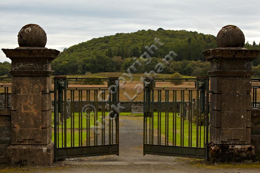 Kirkton Cemetery Gates with Doon Hill Behind