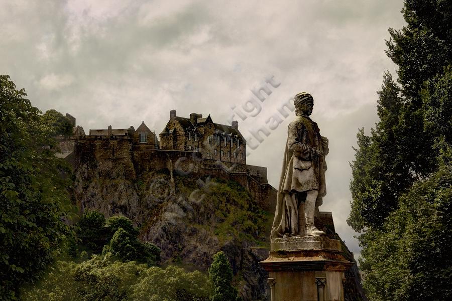 Statue of Allan Ramsay in Princes Street Gardens, Edinburgh Castle behind