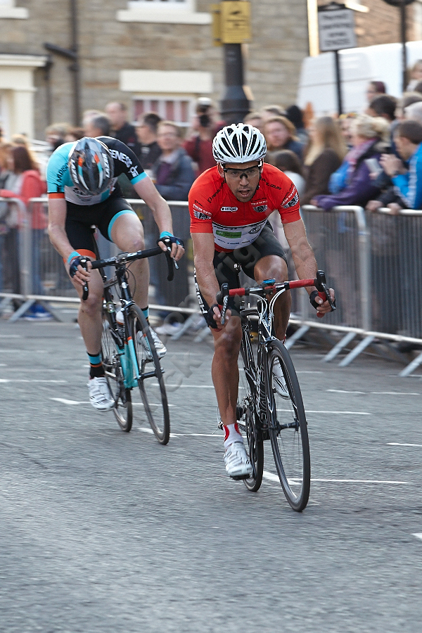 Lachlan Norris chases the leader down Crossgate in Durham